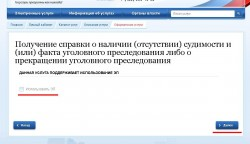Скриншот использования электронной подписи при заказе справки о наличии отсутствии судимости