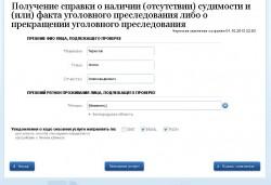 Заполнение электронного заявления на получение справки о наличии или отсутствии судимости на портале государственных услуг