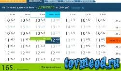 8. Выбор более дешевого авиарейса Москва - Тель-Авив на соседнии даты на сайте озон тревал